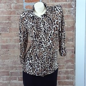 Karl Lagerfelt Button Down Shirt Sz M Cheetah